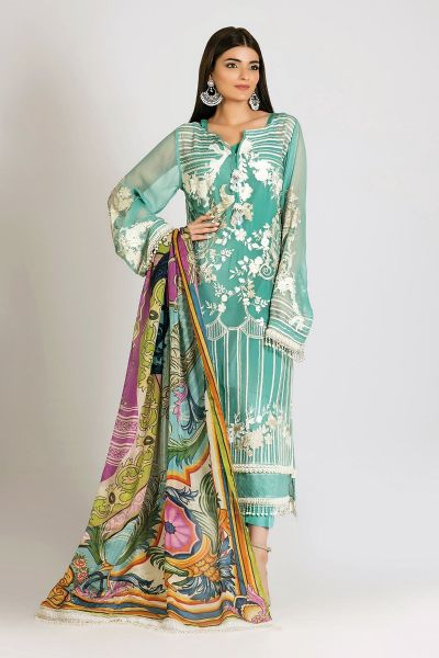 Sky blue embroidered shirt with dupatta for girls