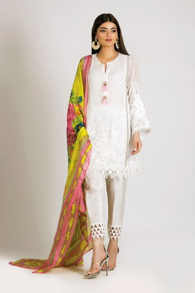 Khaadi white dress with yellow dupatta for girls