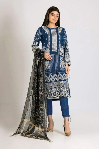 Blue embroidered dress with dupatta