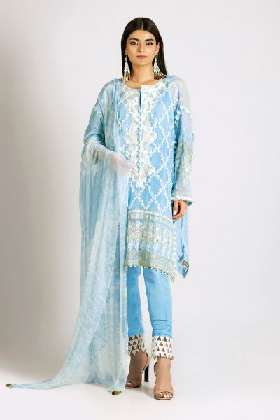 Light blue shirt with matching dupatta and trousers for Eid