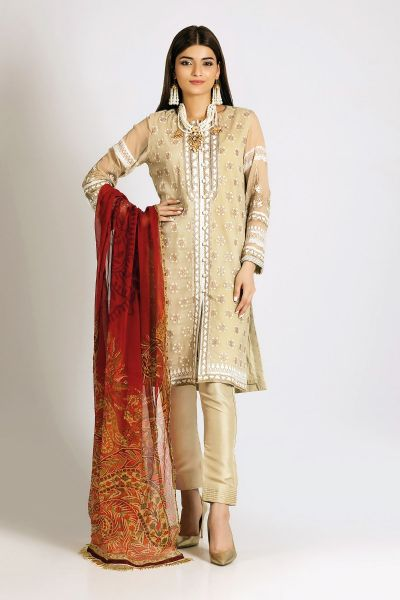 Latest off white shirt with red dupatta for Eid