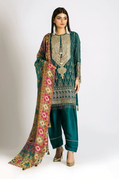 Shirt with matching dupatta and shalwar for Eid