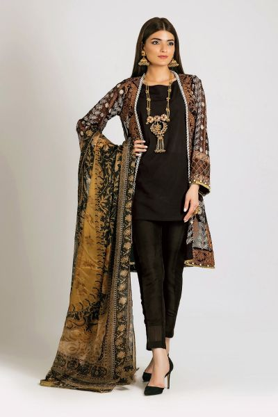Khaadi Black shirt with trouser for Eid