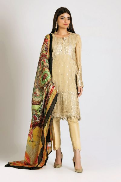 Latest off white shirt with green dupatta for Eid