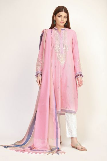 Latest Pink Kameez with trousers and dupatta for Eid