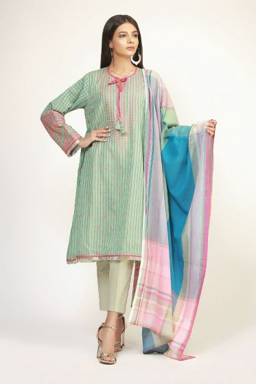 Light green long shirt with dupatta and trousers for Eid