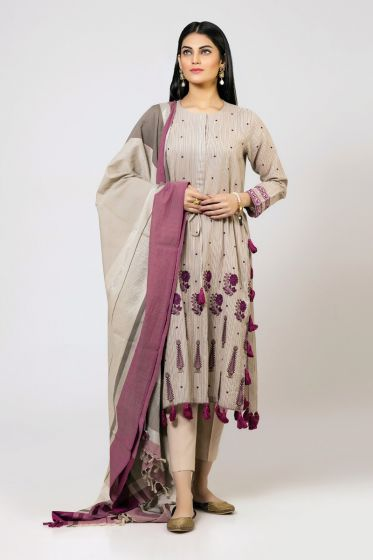 Grey long shirt with dupatta and trousers for girls