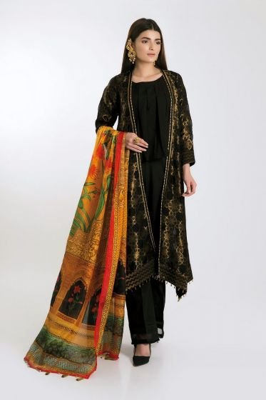 Latest black long front open gown for girls