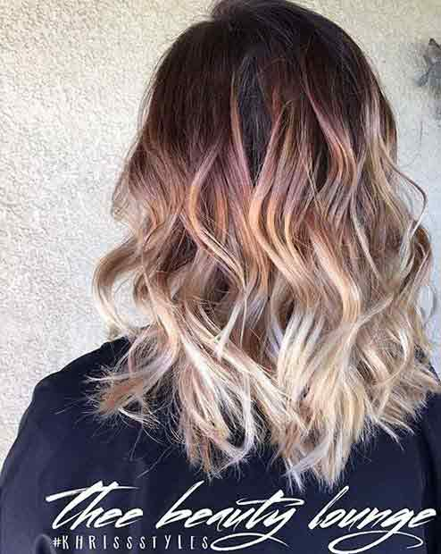 Shoulder length wavy lob haircut for girls