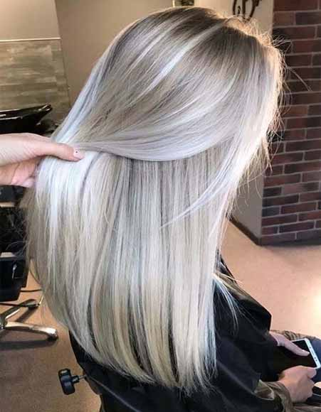 Ash grey straight hair cut and hairstyles for girls