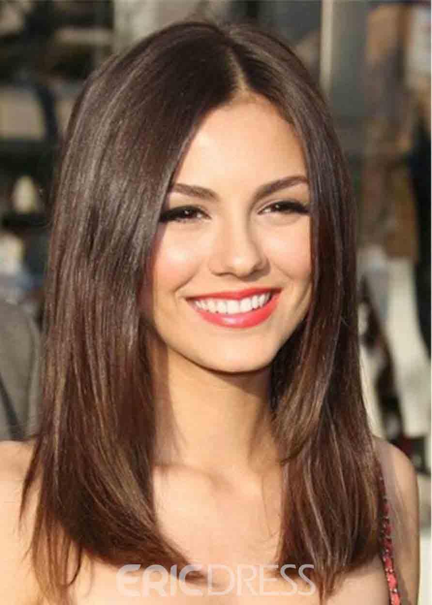 Medium straight haircut and hairstyle