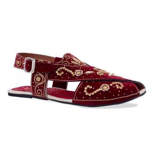Maroon peshawari chappal designs for girls