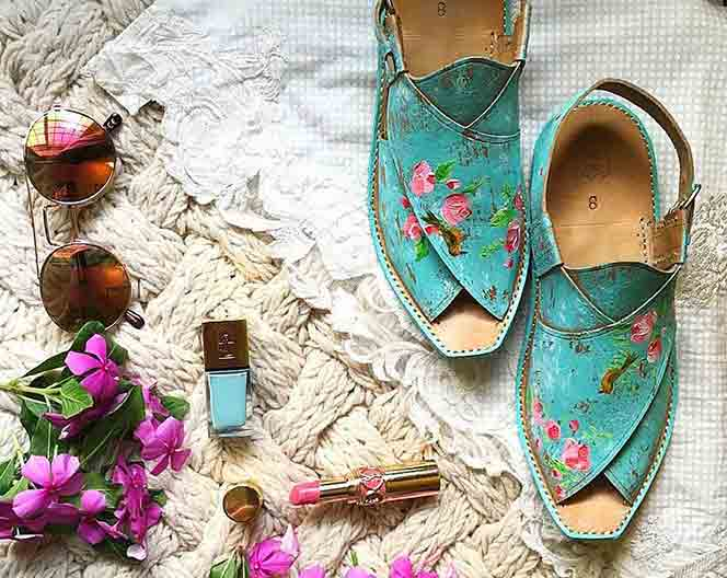 Bluish green color peshawari chappal designs for girls