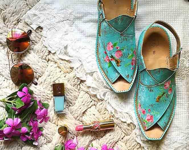 Bluish green color peshawari chappal designs for girls