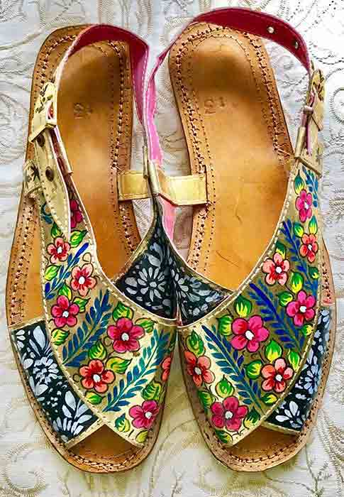 Light blue peshawari chappal designs for girls
