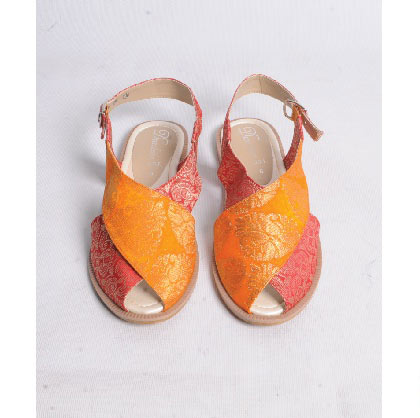 Orange and pink peshawari chappal designs for girls