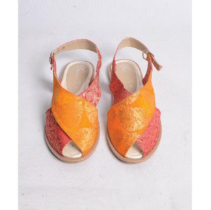 Orange and pink peshawari chappal designs for girls