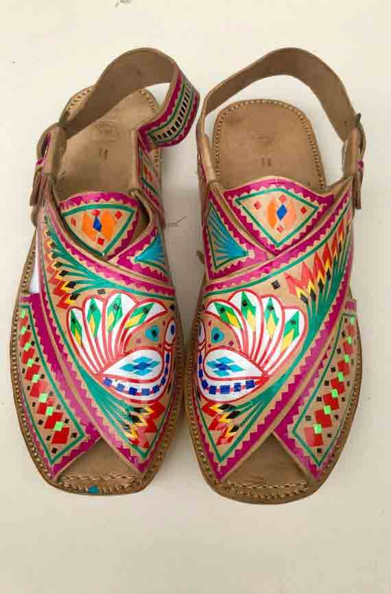 Embroidered multicolored peshawari chappal for girls in Pakistan
