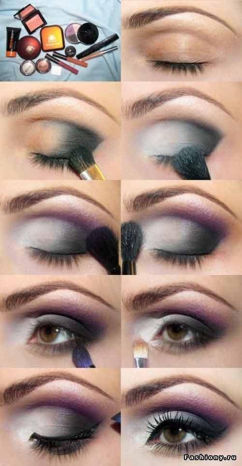 Grey and white smokey eye makeup