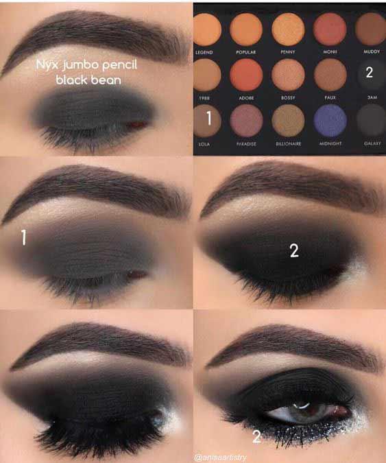 Dark black smokey eye makeup