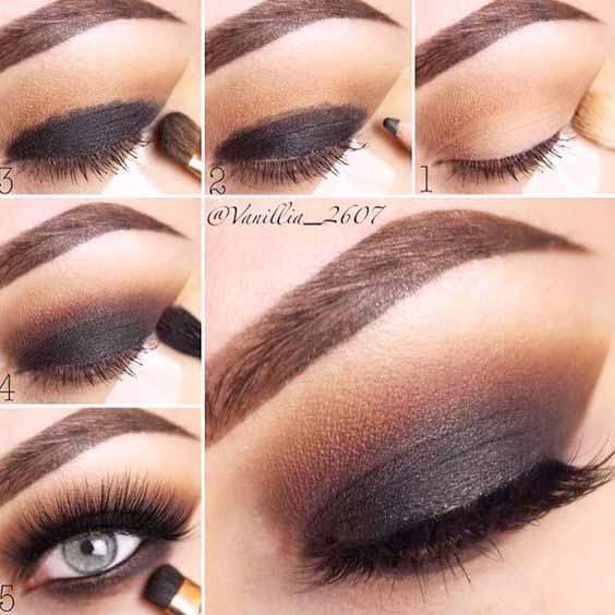 Black smokey eyes makeup
