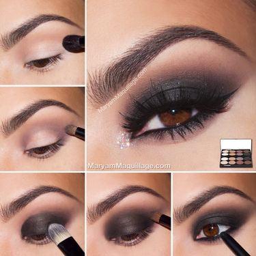 Black smokey eye makeup for brown eyes