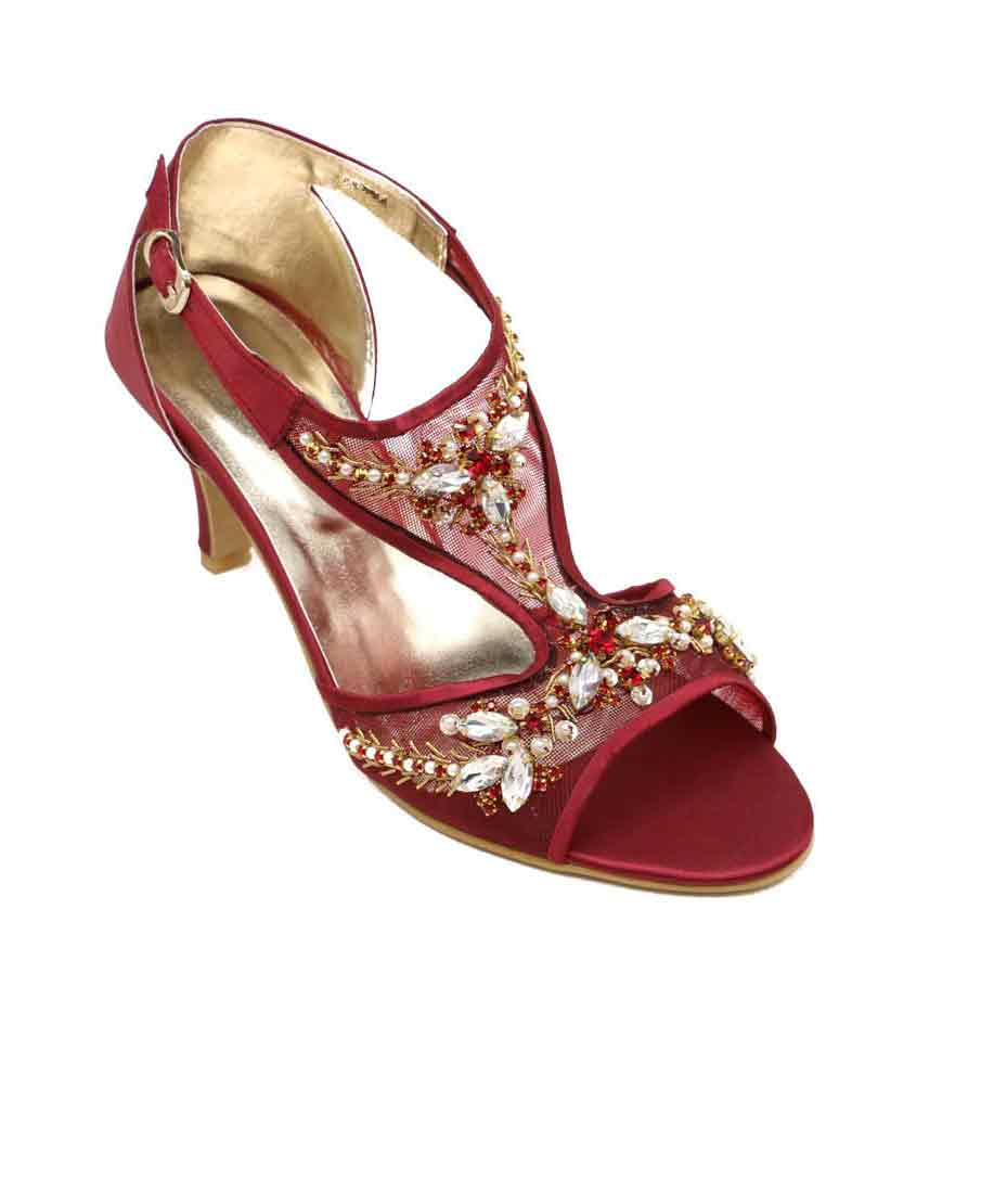 Fancy maroon stylo shoes eid collection