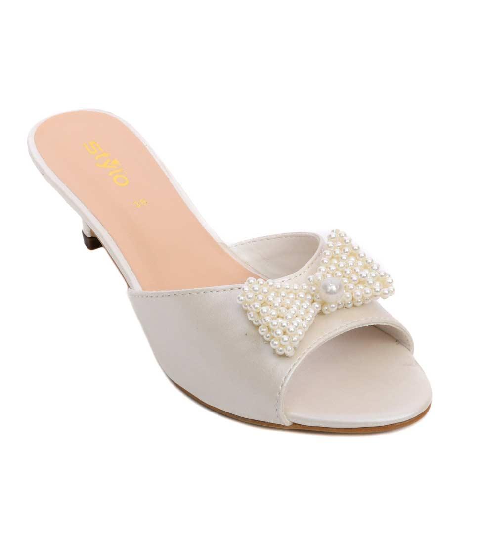 Fancy pearls heels for girls
