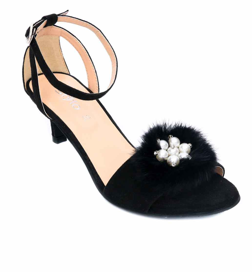 Black fur heels by stylo shoes