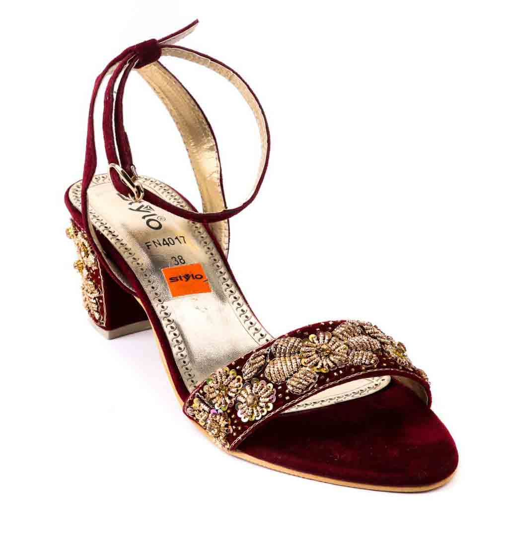 Fancy maroon stylo shoes for eid