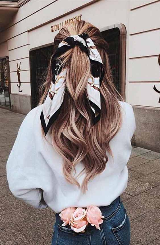 Half up down head scarf hairstyle