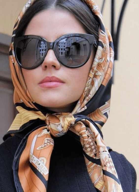 Vintage head scarf with sunglasses
