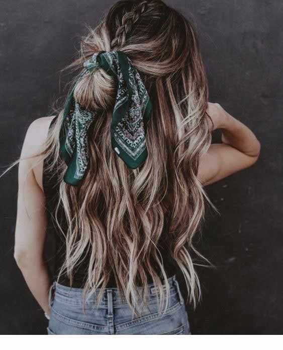 Green head scarf hairstyle