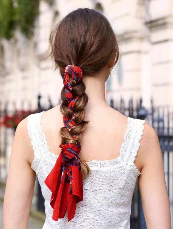 Red head scarf with braid hairstyle