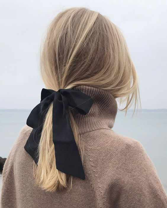 Simple black head scarf ponytail