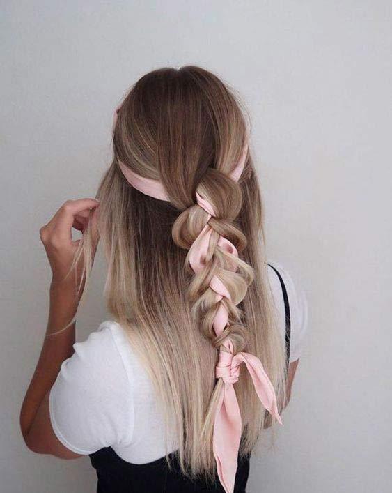 Three strand braid head scarf hairstyle