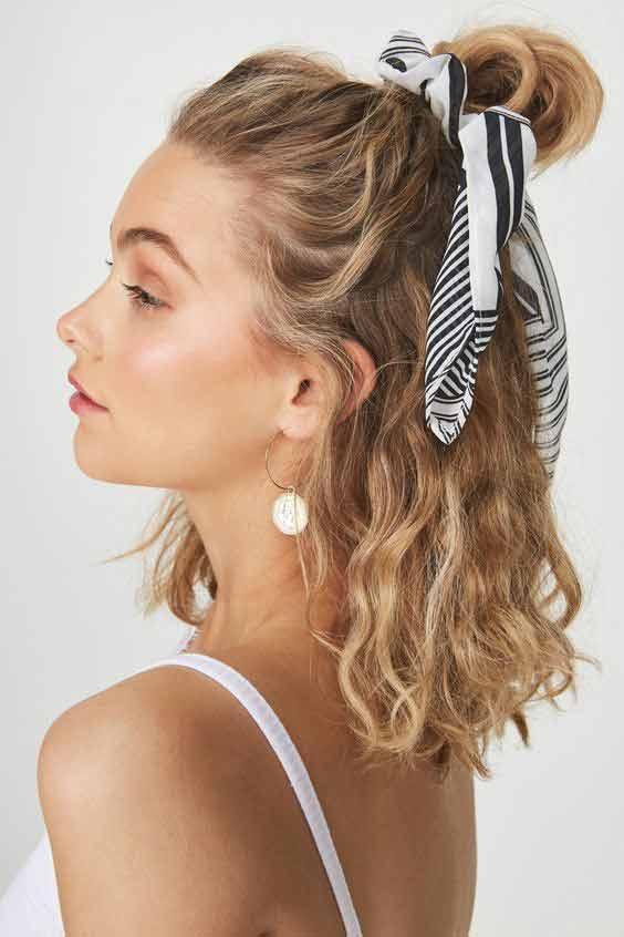 Hair bun head scarf hairstyle