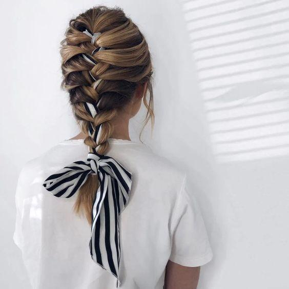 Dutch braid head scarf hairstyle