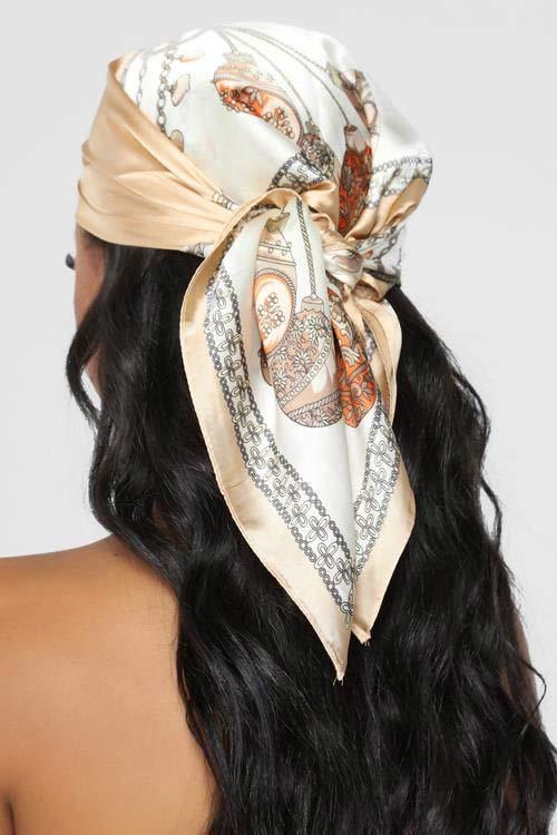 Silk head scarf hairstyle