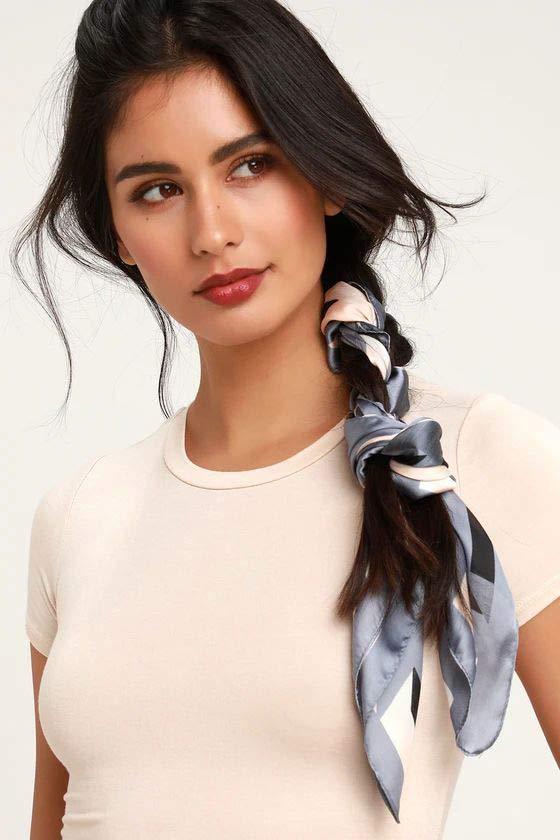 Side braid with head scarf