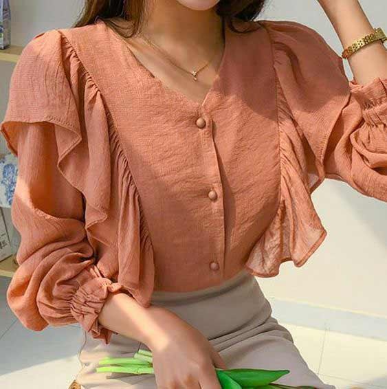 Crop top puff sleeve shirt