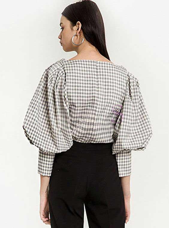 Puff sleeve check shirt for girls