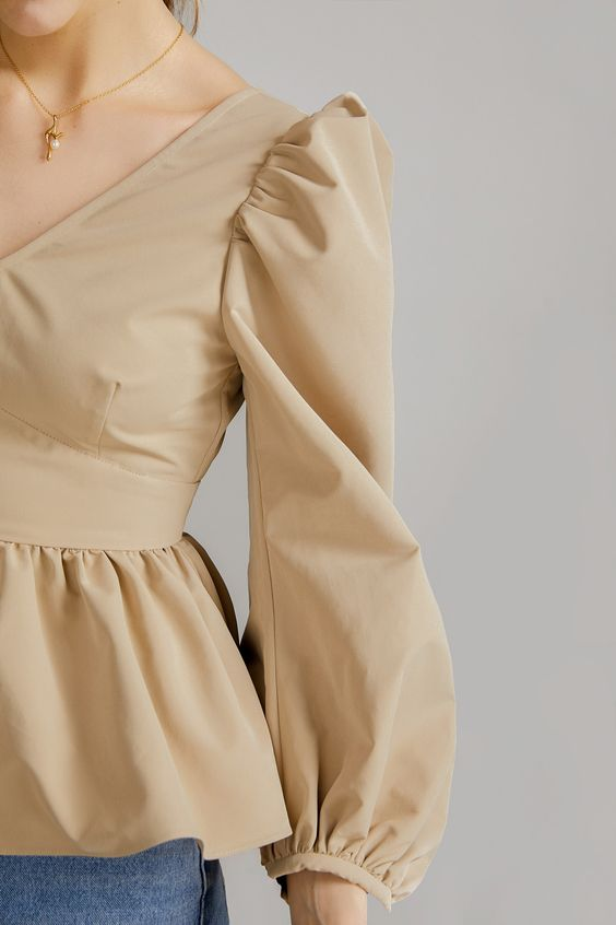 Light brown puff sleeve design short frock