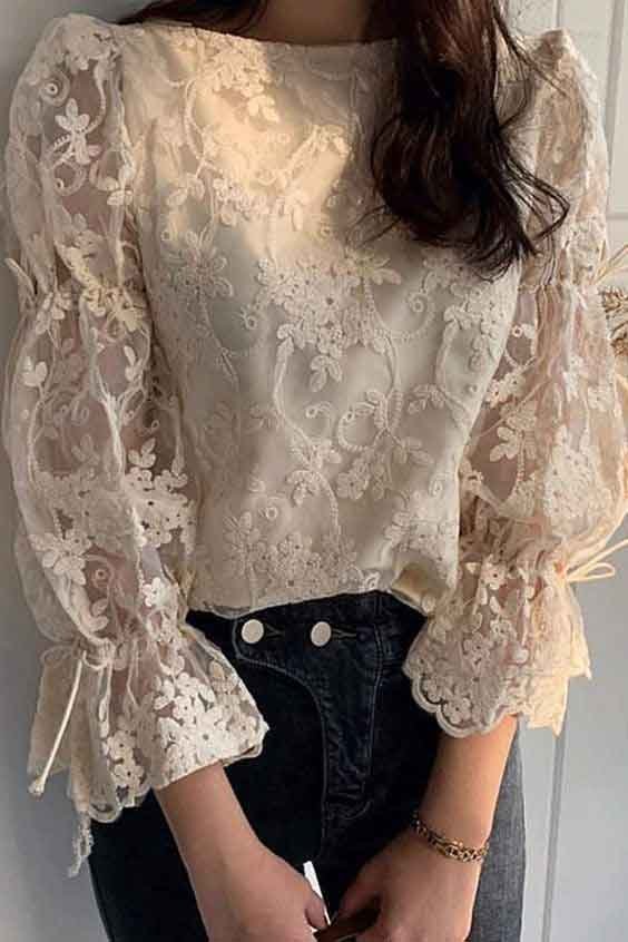 Net lace puff sleeve shirt for girls
