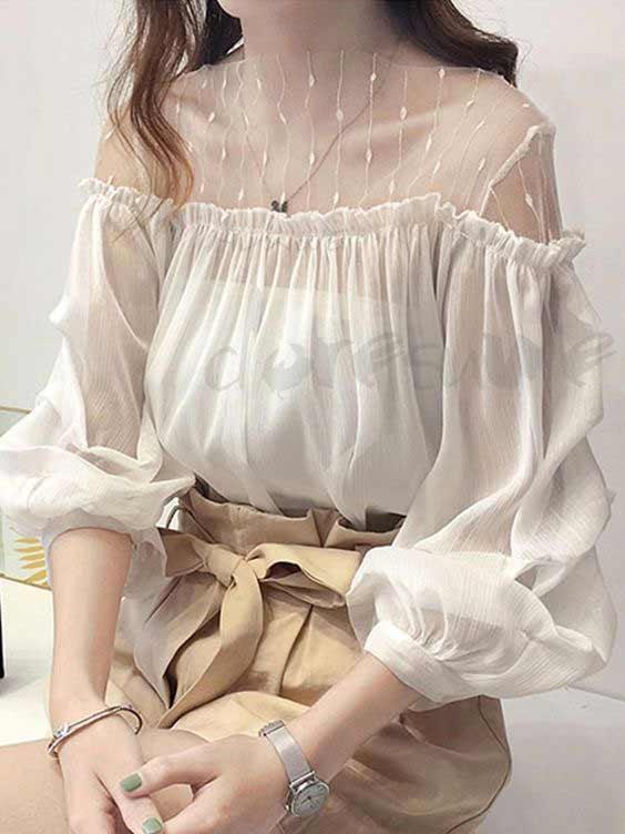 White ruffle puff sleeve designs