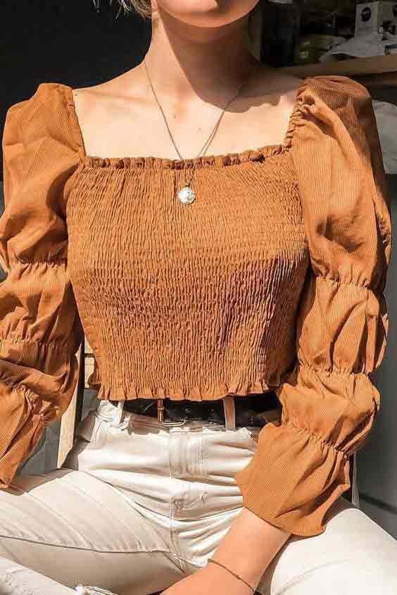 Brown crop top with puff sleeves