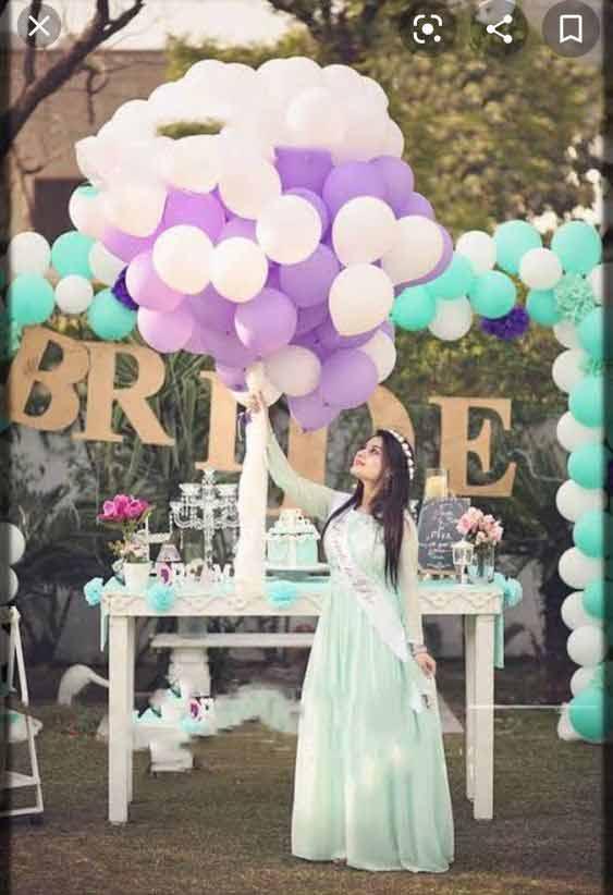 Light blue bridal shower frock design