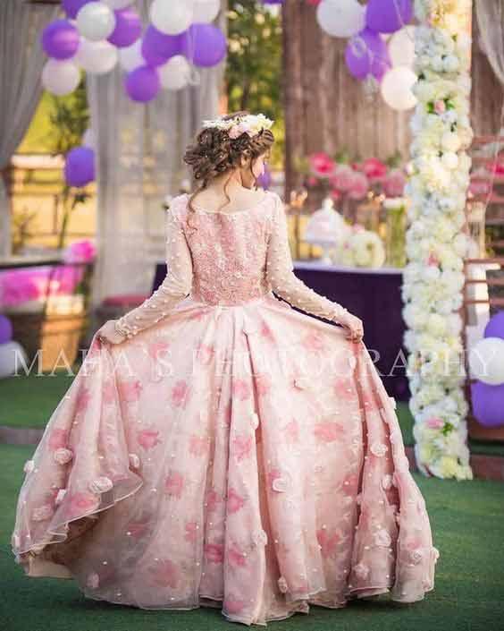 Pink floral long frock for bridal shower