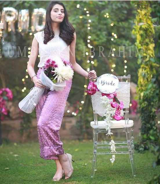 Pink and white bridal shower dress