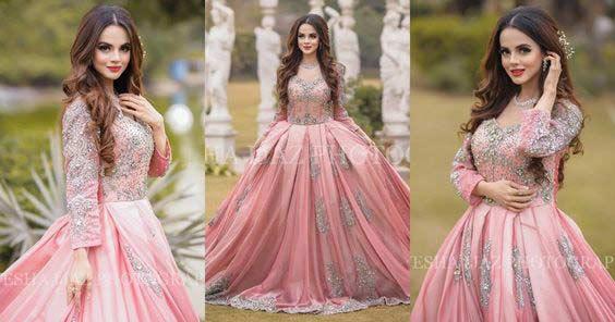 Pink bridal shower frock design